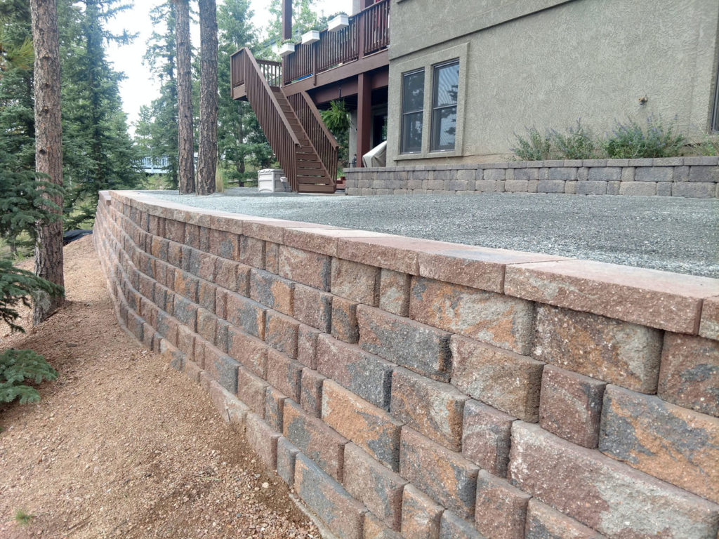 Block retaining wall for outdoor living space in Woodland Park CO