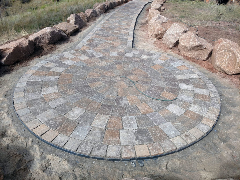 Custom paver patio for future artwork in Woodland Park Colorado