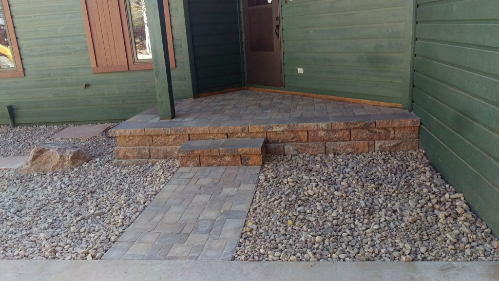Deck removal and installation of block and paver entryway in Divide CO
