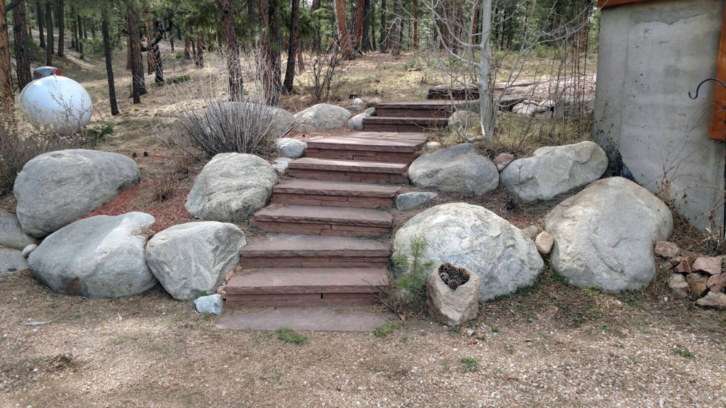 Flagstone steps with boulders-still strong after 15 years