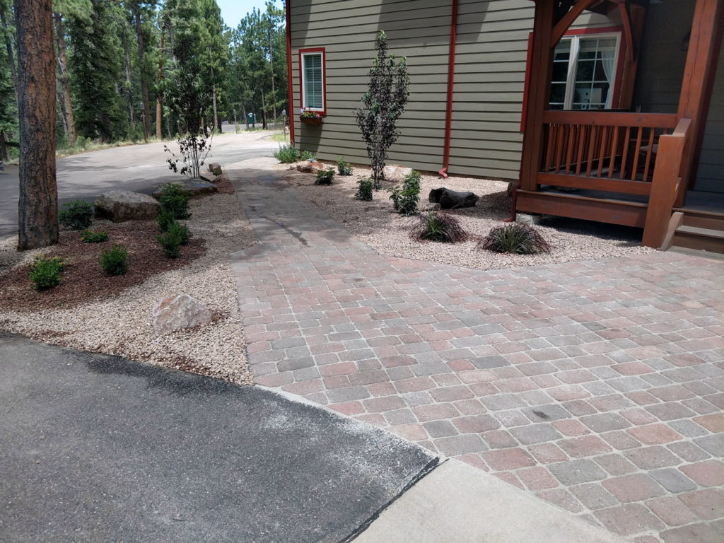 Paver walkway with plantings in Woodland Park CO
